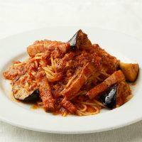 焼き茄子とベーコンのトマトソース フェデリーニ